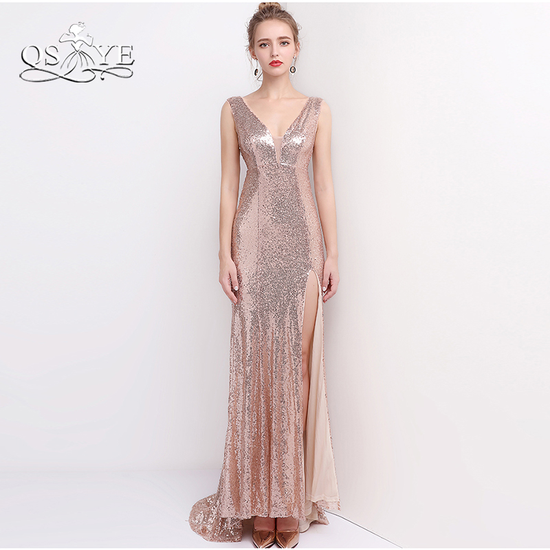 QSYYE 2018 New Sparking Rose Gold Sequin Long Mermaid Prom Dresses V Neck Sexy Split Side Formal Evening Party Gowns