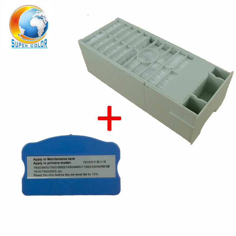 Free Shipping For EPSON 7450 7800 7880 9800 9880 9400 9450 Maintenance Waste Tank With Resetter 1 pc waste ink tank chip resetter for epson 11880 11880c 7900 9900 7880 9880 7800 9800 7450 9450 maintenance tank cartridge
