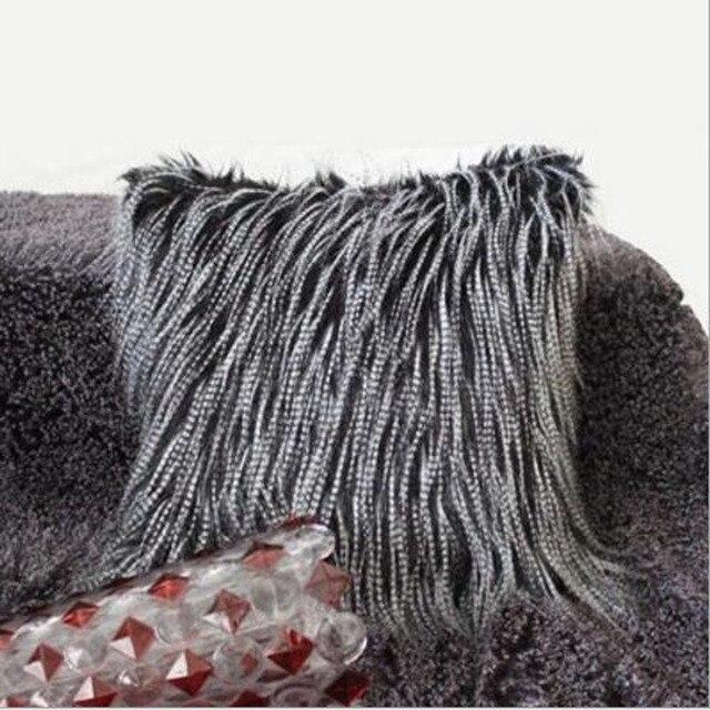 Luxury Imitation peacock Plush faux Fur sofa Pillow Chair ...