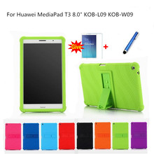 Ultra Thin Colorful Silicon+PC Leather case for Huawei MediaPad T3 8.0 KOB-L09 KOB-W09 tablet funda Honor Play Pad 2