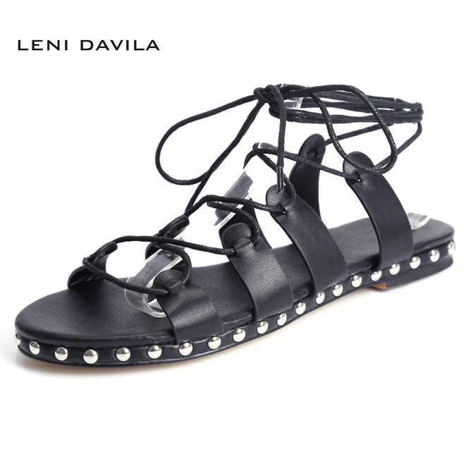 LENI DAVILA 2017 Summer Fashion women Full Grain Leather Sexy sandals Ankle Strap Lace-Up Low heels casual shoes for women fashion design women full grain leather pumps summer ankle wrap cool high heels shoes for women closed toe women sandals