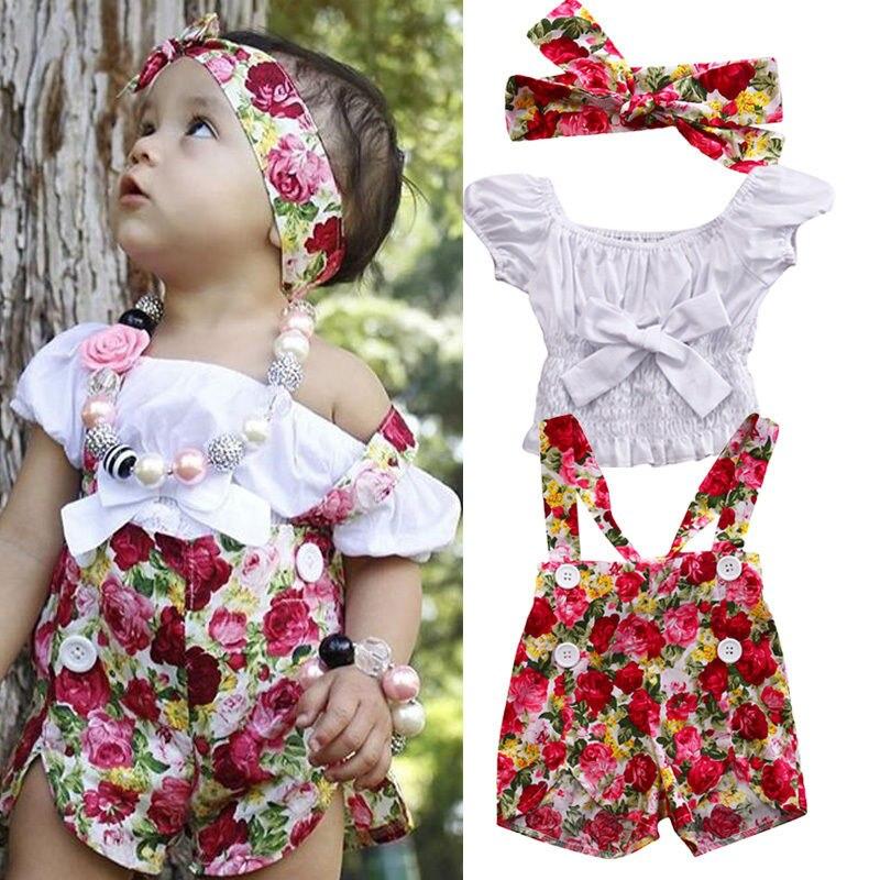 9953e05d07fc Pudcoco Newborn Baby Girl Clothes Set Off Shoulder Top T-Shirt+Shorts Pants  3PCS Summer ...