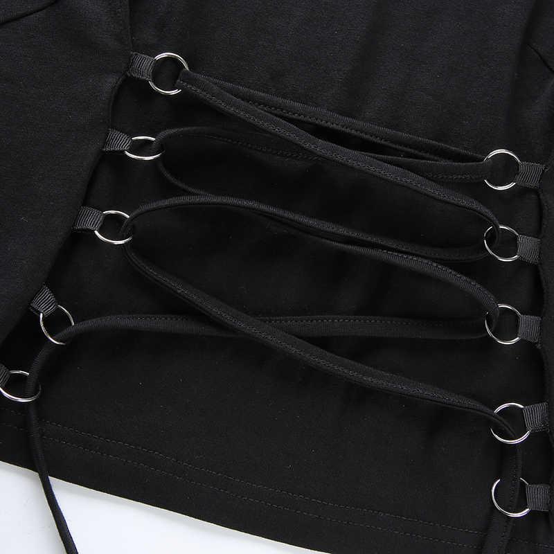 Waatfaak Повседневная бандажная Футболка женская хлопковая футболка с длинным рукавом черная укороченная майка с высоким воротником Femme тонкий весенний корейский топ