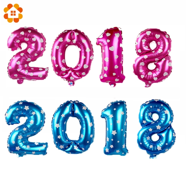2018 happy new year balloons 16inch large foil balloons pinkblue number balloon kid toys party favors
