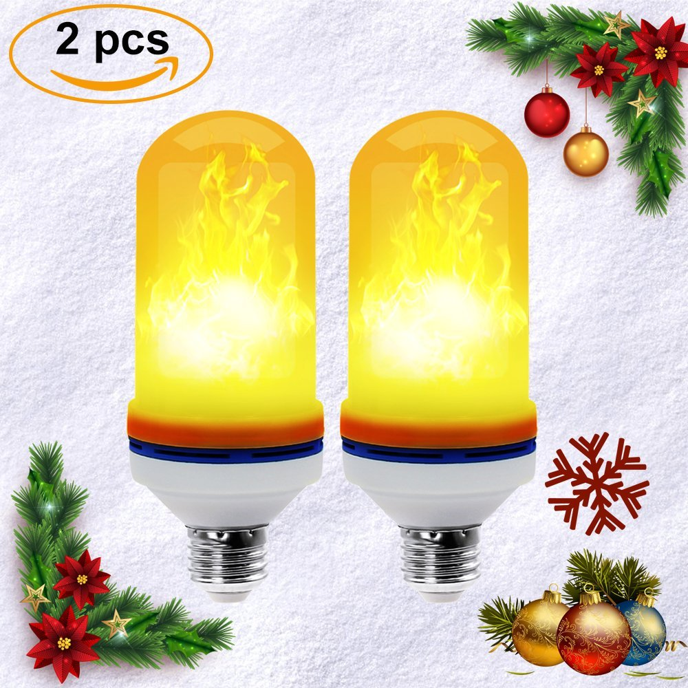 2PCS E26/E27  4 Modes Flickering Fire Flame Decoration Simulation Fire Flickering 105pcs 2835 LED  Flame Light For For Halloween