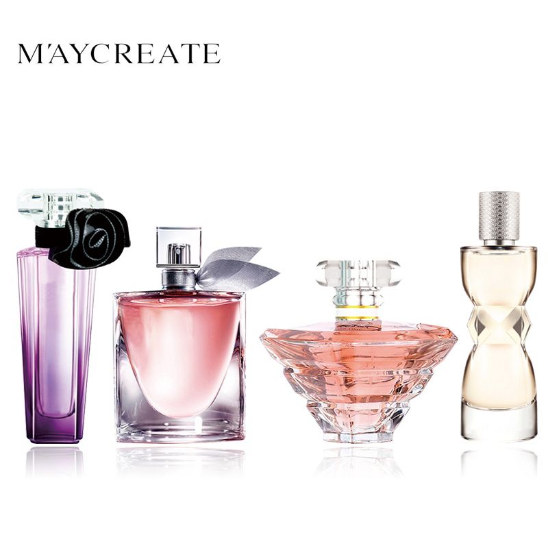 MayCreate Perfumed Women Portable Parfum Atomizer Perfumed Bottle Glass Fashion Lady Flower Fragrance Perfum Brand 1Set 4Pcs