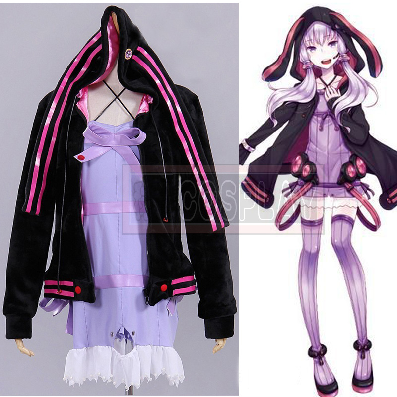 Hot Sale! Free Shipping Halloween Vocaloid 3 Yuzuki Yukari Cosplay Uniform Jacket Coat + Dress Women Girl's Halloween Costumes