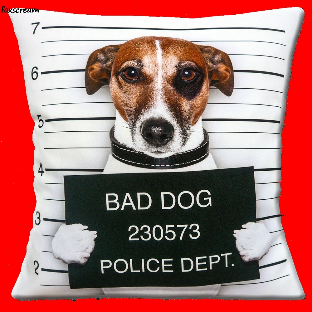 Funny Bad Dog Cushion Cover Novelty Jack Russell french bulldog Throw Pillows Case Chair Seat Sofa Cushions