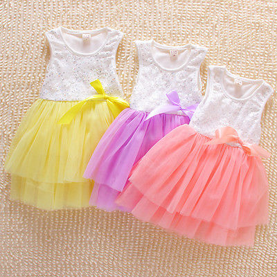Buy Cheap Kids Party Princess Flower Girls clothess Sleeveless Tulle Dress Sequins Bow Tutu Dresses
