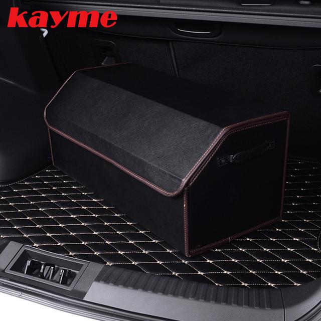 Kayme organizador caja de almacenamiento maletero del coche bolsa de herramientas bolsa de basura automático 2016 nuevo coche organizador de cuero de microfibra de Alta calidad caja plegable