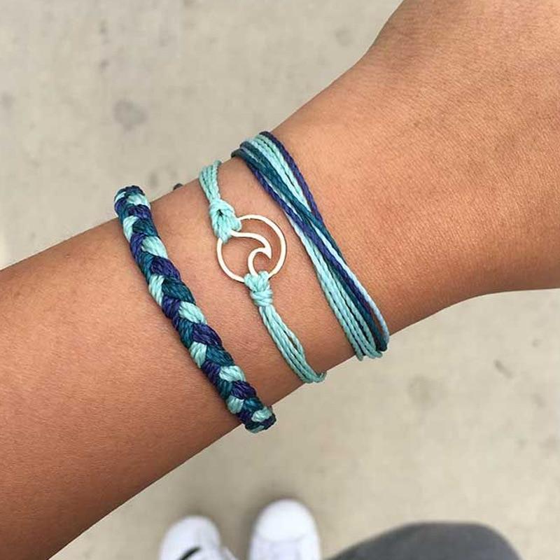 Vintage Multilayer Wave Bracelets Set For Woman Fashion Weave Rope Chain Charm Bracelet Bangles Adjustable Girls DIY Gifts