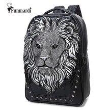 Neue ankunft 3D Lion design pu-leder rucksäcke vintage Rock frauen taschen Niet computer taschen gute qualität Reisetaschen WLHB1450
