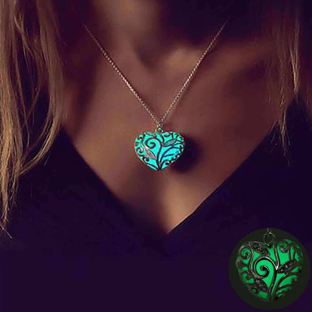 FAMSHIN Bohemia Silver Color Luminous Stone Heart Pendant Necklace Fashion Women Halloween Hollow Necklace Jewelry Gifts 2018