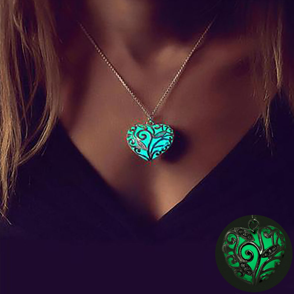 FAMSHIN Bohemia Silver Color Luminous Stone Heart Pendant Necklace Fashion Women Halloween Hollow Necklace Jewelry Gifts 2018(China)
