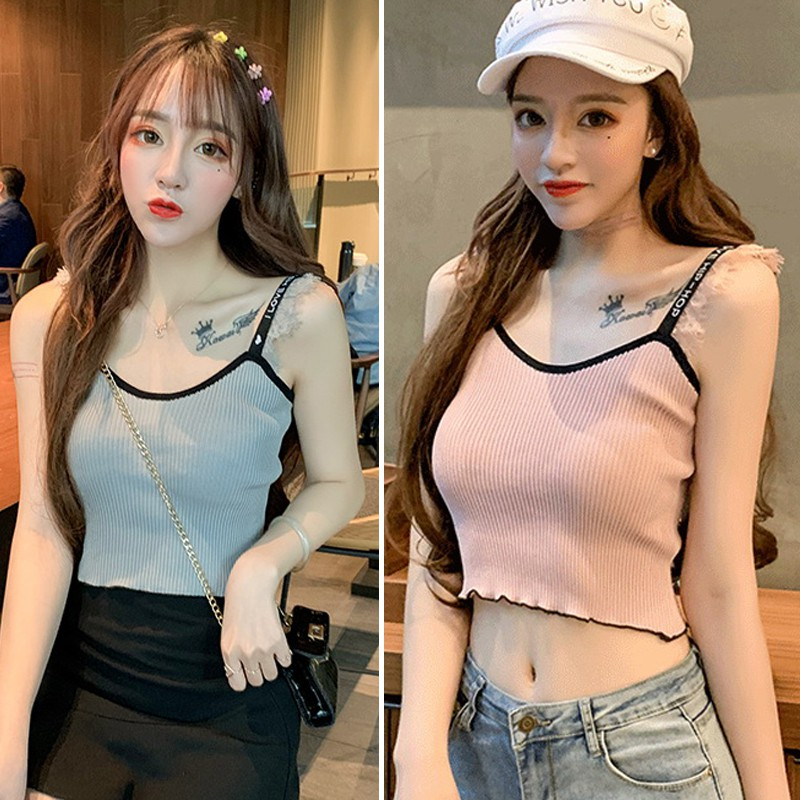 Women 39 s Lace Stitching Knitted Tank Top Sexy Vest Simple Stretchable Tops Summer Solid Crop Top in Tank Tops from Women 39 s Clothing
