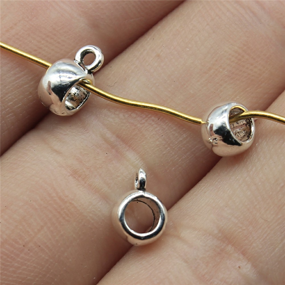 WYSIWYG 40pcs 4x6x8mm Glossy Spacers Beads Bail For Jewelry Making Glossy Bail Beads Charm Glossy Bail Beads