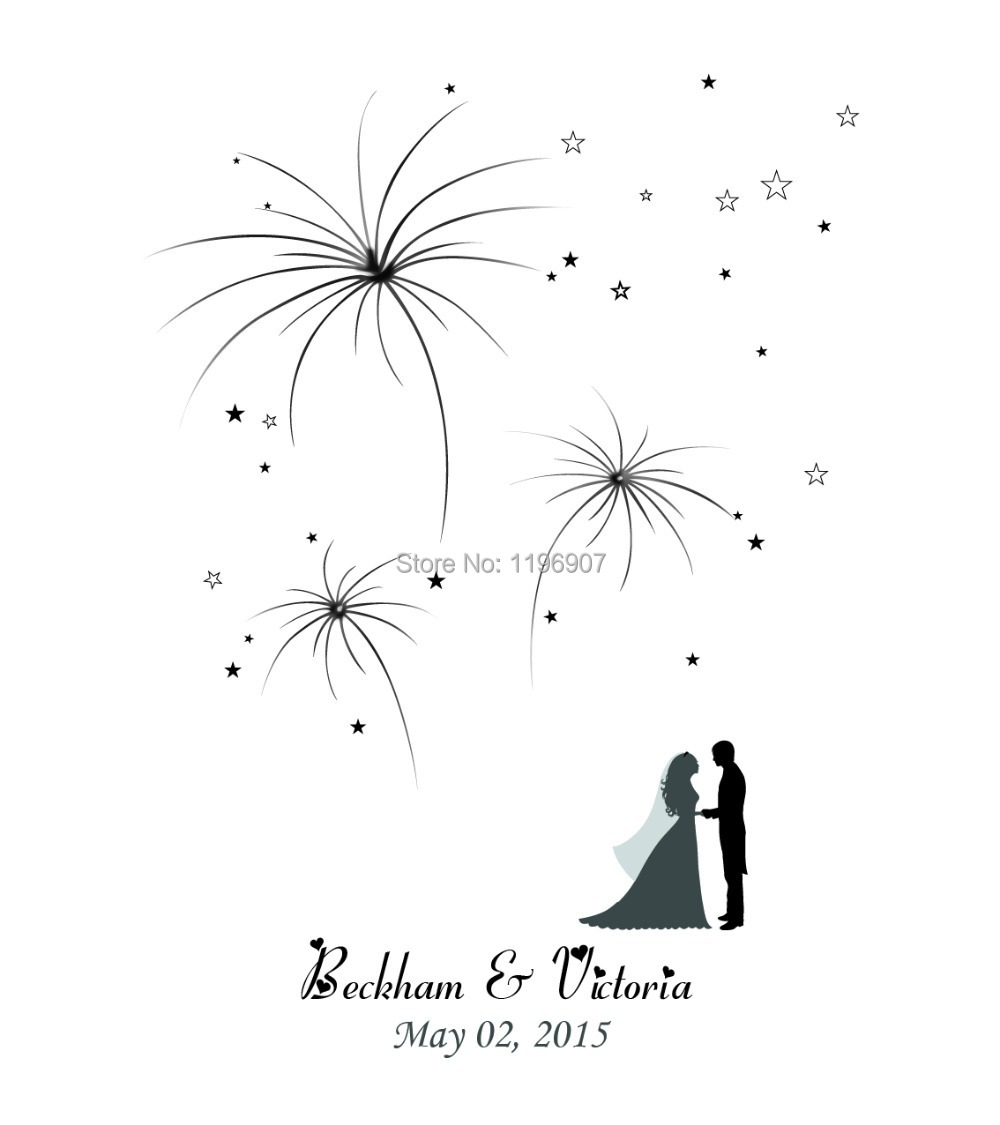 Aliexpress Buy 42x52CM Firework Design Wedding Fingerprint Tree Guest Book Personalize