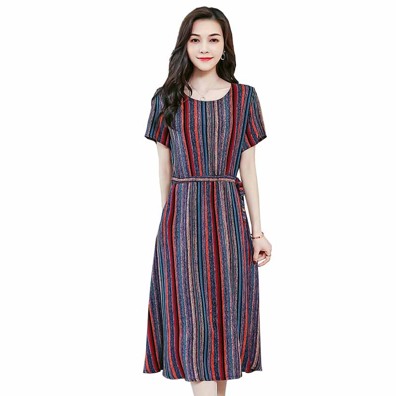New Plus size XL-6XL Short sleeve Summer Dress 2019 Women Print O-neck Pocket cotton A-line Maxi Dresses Middle aged Female G368 image