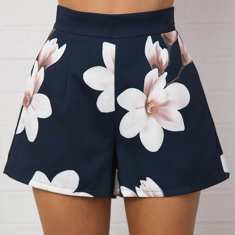 Fashion Summer Women Sexy   Shorts   High Waist Zipped Flowers Printing Ladies Girls Casual Wide Leg   Short   Trouser JL