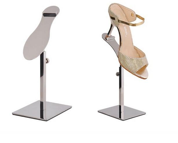 Mirror Silver Metal Shoe Display Stand Polished Shoe Rack Sandal holder Display rack stand shoes holder rack