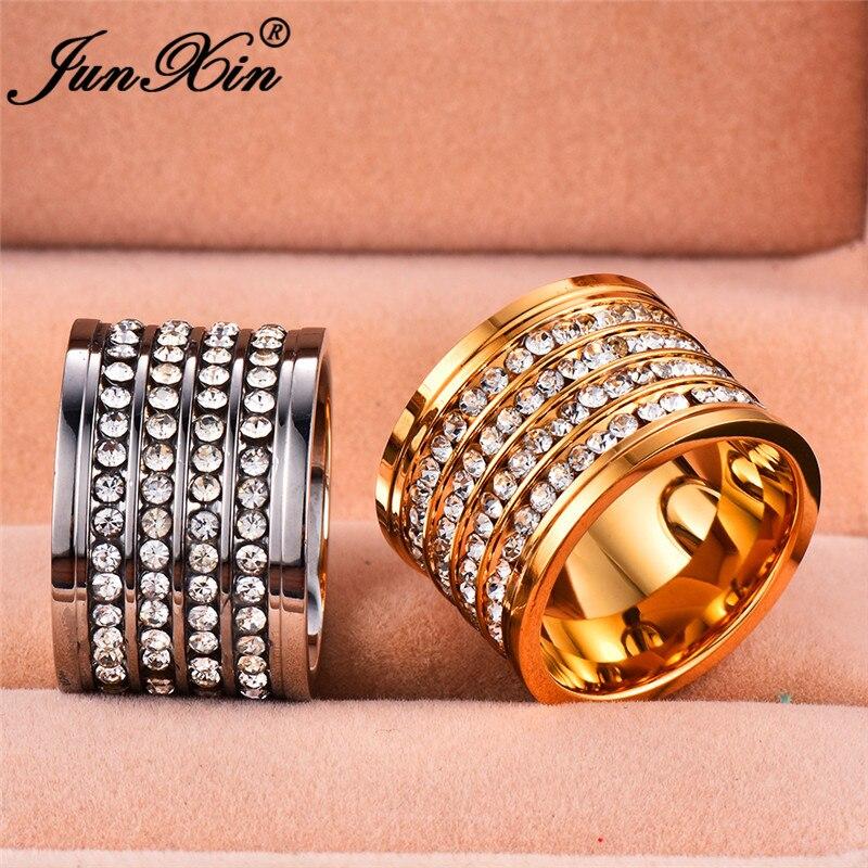 100% Wahr Junxin Gold Silber Edelstahl Große Ringe Für Männer Frauen Titan Stahl Große Männliche Ring Weiblichen Weißen Kristall Paare Ring Geschenk