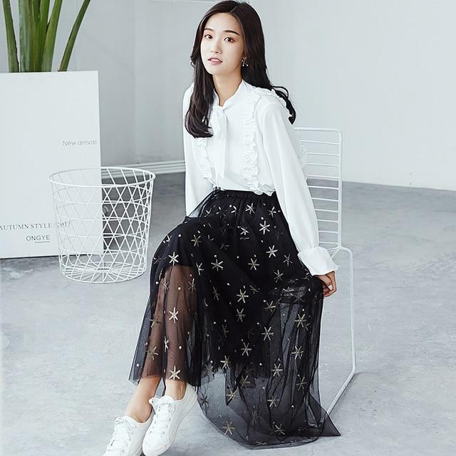 spring 2019 black skirts womens summer korean style women harajuku moon  retro trend sequins glittering gauze long skirt women 898d66ff3