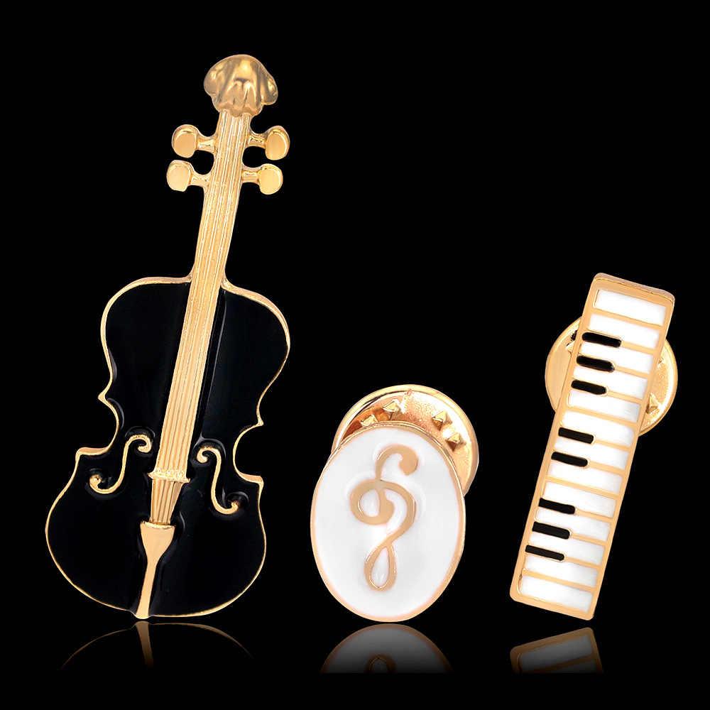 シンディ XIANG 3 ピース/セットユニセックス楽器バイオリンブローチ女性のためのエナメルピンファッションコートアクセサリー襟ブローチ