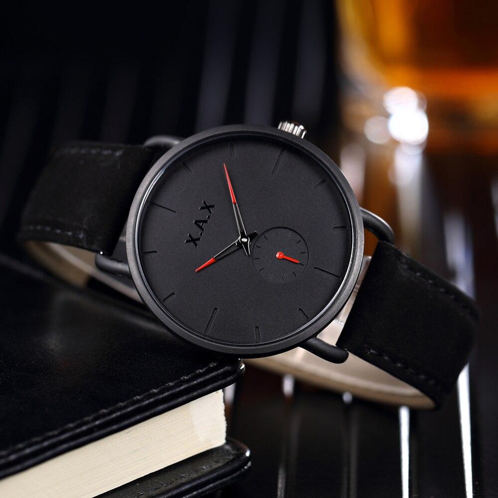 Reloj negro minimalista para hombre. Reloj de cuero negro de gamuza de lujo. Relojes de trabajo de esfera pequeña - 6