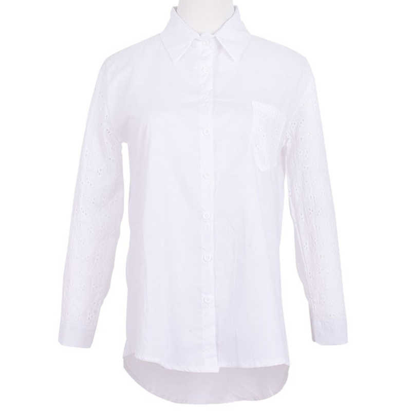 Kantoor Wit Womens Tops En Blouses Tunieken Plus Size 4xl 5xl vrouwen Blouse Work Shirt Hollow out 9/10 Mouwen blusas Femininas