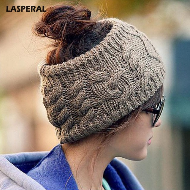 91f34a9cc US $2.28 31% OFF|LASPERAL Women's Men Stretch Knit Hat Messy Bun Ponytail  Beanie Holey Warm Hats Winter 2018 New Arrive-in Skullies & Beanies from ...