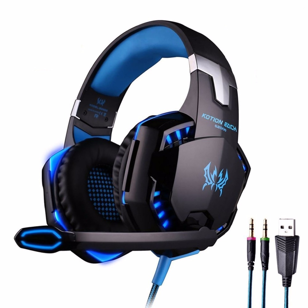 Kotion Each <font><b>G2000</b></font> Stereo Gaming Headphone Headset Deep Bass Wired Luminous Earphone with Microphone LED Light For PC Gamer MP3 image