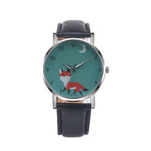2017 Relogio Feminino Fashion Fashion Retro Cartoon Fox Design Leather Band Analog Alloy Quartz Wrist Watch #MAY24