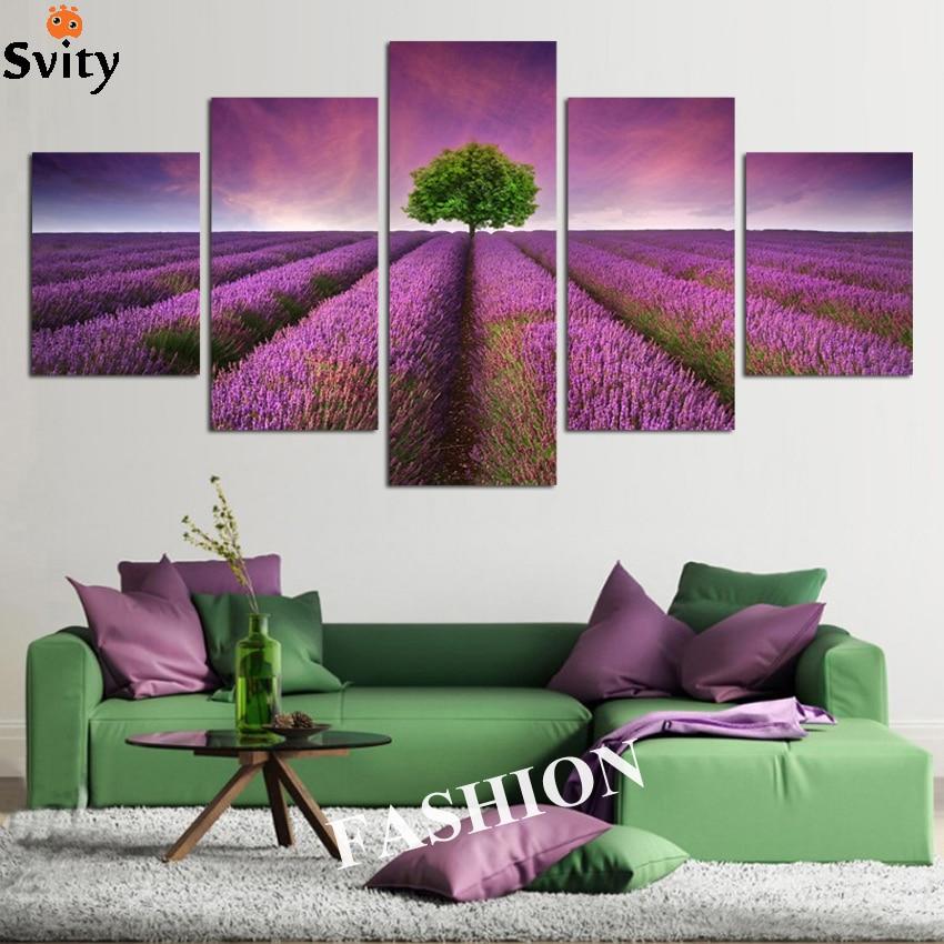 NO frame 5pcs Provence Lavender Modular pictures flowers canvas - Decoración del hogar