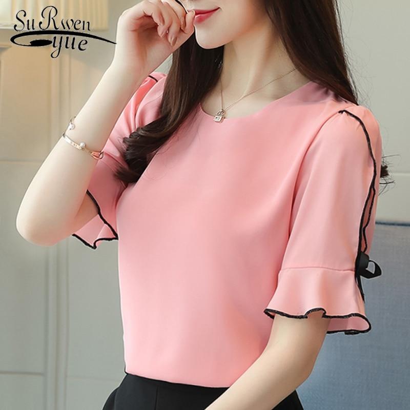 Fashion 2019 Chiffon Women Blouse Shirt Bow Short Sleeve Sweet Women's Clothing Pink O-neck Summer Feminine Tops Blusas D621 30