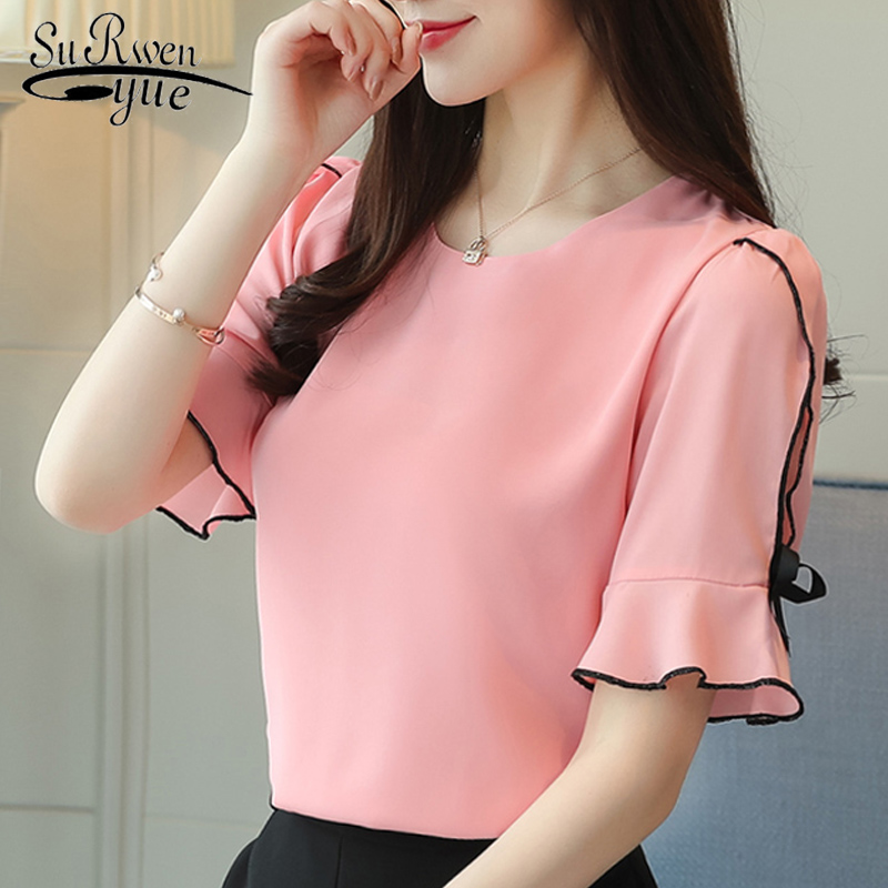 fashion 2019 chiffon women   blouse     shirt   bow short sleeve sweet women's clothing pink o-neck summer feminine tops blusas D621 30
