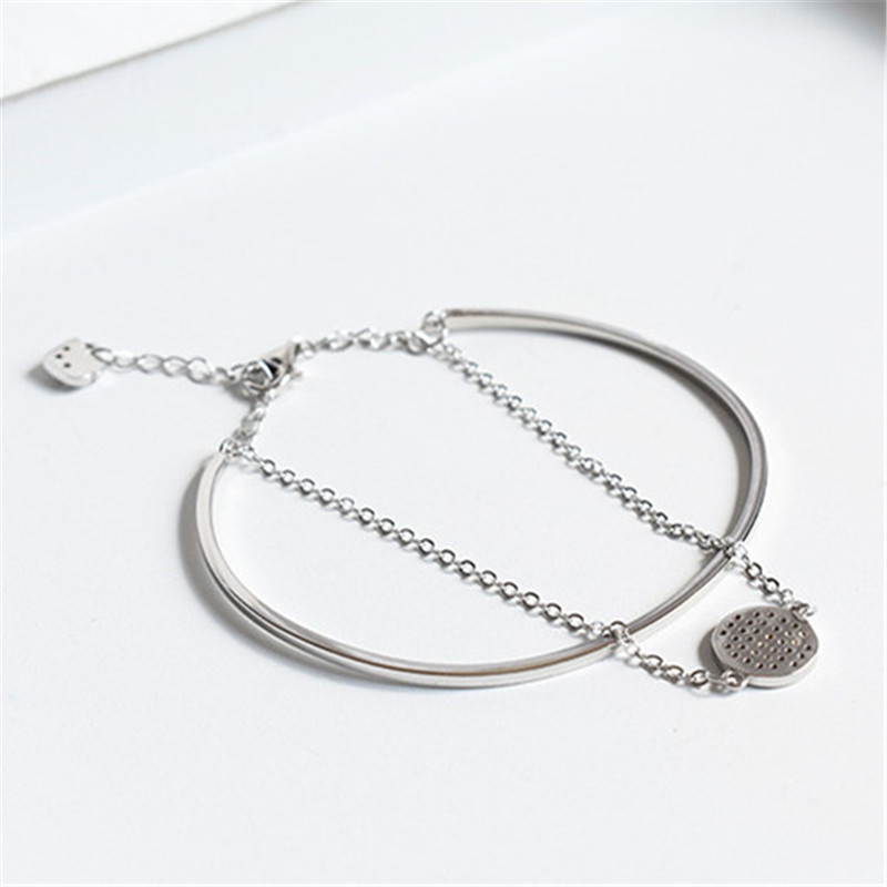 fashion sterling silver s925 Cuff & chain tennis racket charm bracelet 925 for Women Jewelry
