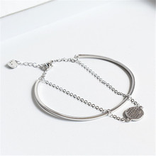 fashion sterling silver s925 Cuff & chain tennis racket charm bracelet 925 sterling silver for Women Jewelry стоимость