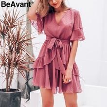 732edc0587 BeAvant elegancki warstwowe letnia sukienka z falbaną kobiet Polka dot  wysoka talia krótka sukienka na co dzień z dekoltem w ser.
