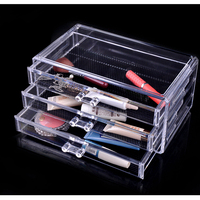 New Clear Acrylic Makeup Storage Case 3 Layer Cosmetic Organizer Box for Lipstick Eyeliner Pencil Nail Polish Makeup Organizer