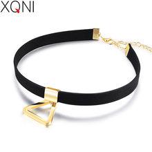 XQNI de acero inoxidable de franela negro triángulo colgante collar Torques para las mujeres oro plata Color salvaje joyería para regalo