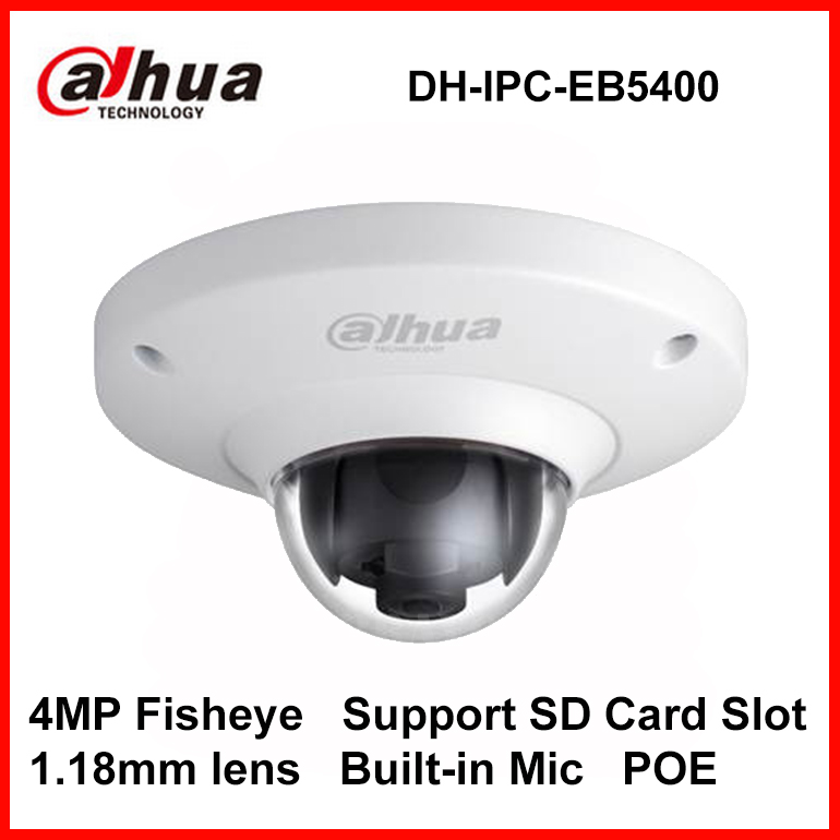 Dahua IPC-EB5400 4MP Full PoE WDR Panoramic 360 Degree Fisheye Dome Network IP Camera built-in MIC support SD card DH-IPC-EB5400