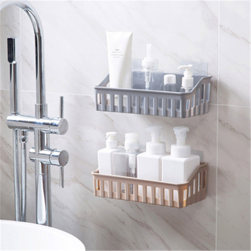 Creative Strong Suction Shower Basket Dual Sucker Bathroom Shelf Washing Room Kitchen Corner Basket Wall Mounted Storage Rack