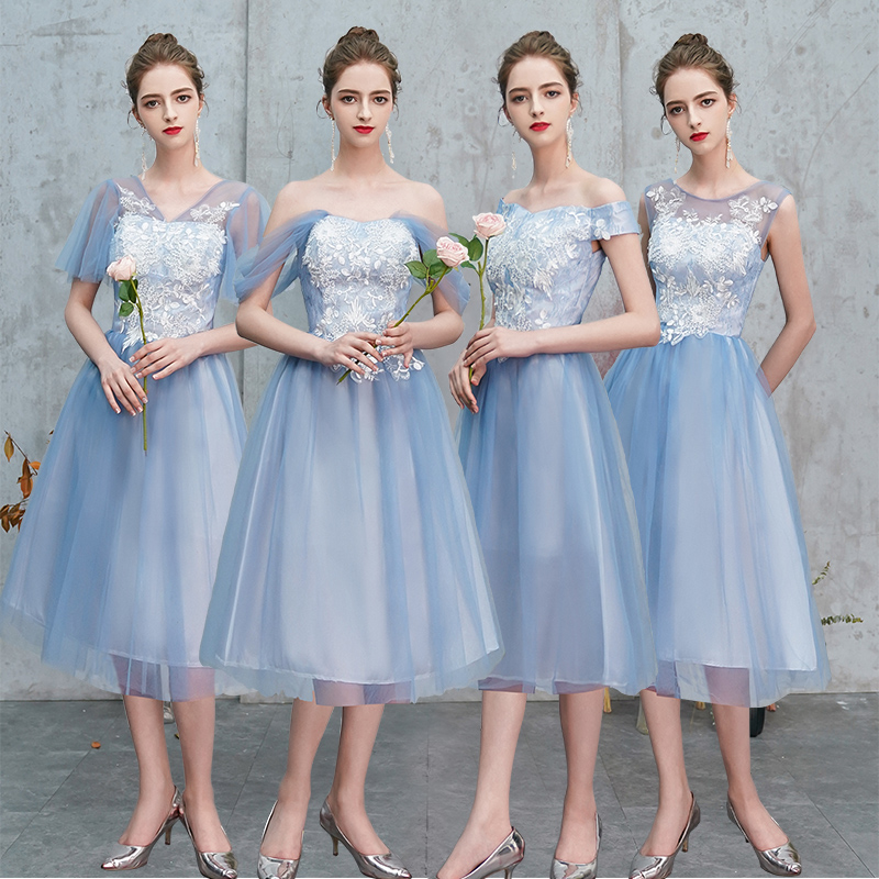 Wedding Guest Dress Elegant Party Bridesmaid Vestido Off The Shoulder Tulle Tea-Length Party Dress Sister Club Prom Azul Royal