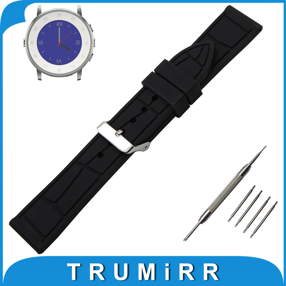 20mm Silicone Rubber Watch Band + Tool for Pebble Time Round 20mm / Bradley Timepiece Watchband Strap Wrist Belt Bracelet Black 20mm silicone rubber watch band for pebble time round 20mm bradley timepiece stainless steel buckle strap resin bracelet black