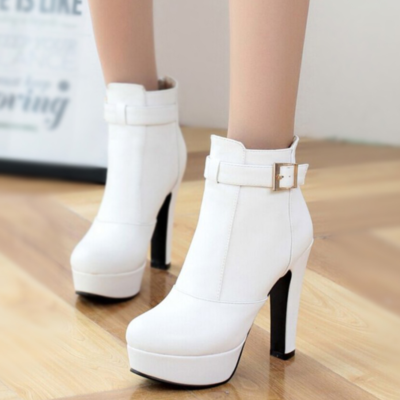 White Heel Booties