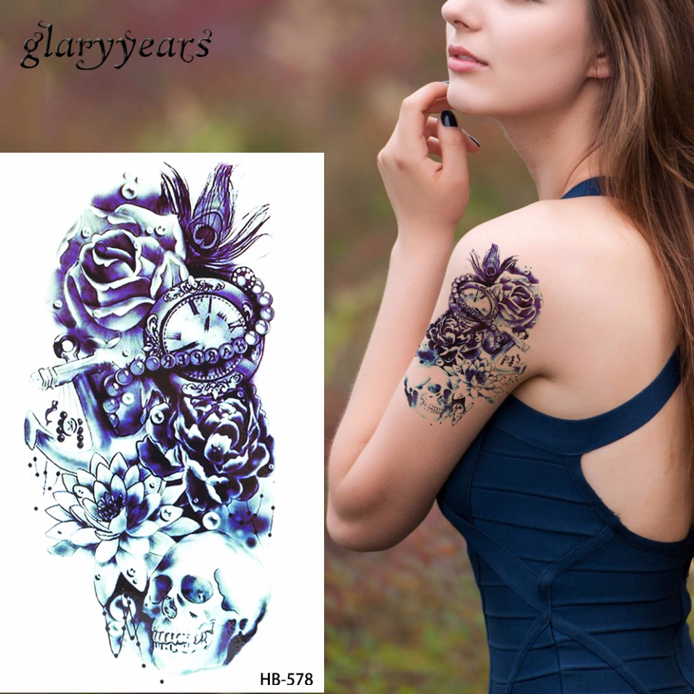 1pc Sketch Flower Arm Tattoo Sticker Women Men Body Art HB578 Peacock Feather Skull Time Bone Design 3D Temporary Tattoo Sticker rysunek kolorowy motyle