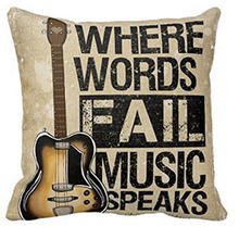New Cotton Linen Guitar Pillow Case Cushion Cover Hold Home Decor