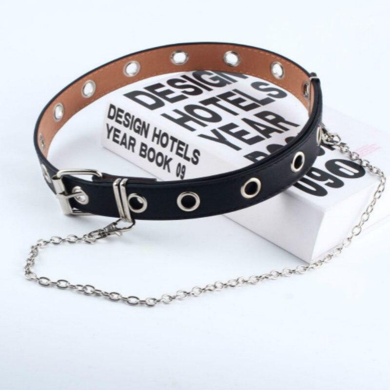Новейший дизайн, съемный пояс-цепочка на талию, панк, хип-хоп, трендовые женские ремни, женская мода, Серебряная Пряжка, кожаный пояс, джинсы - Цвет: SingleBlack