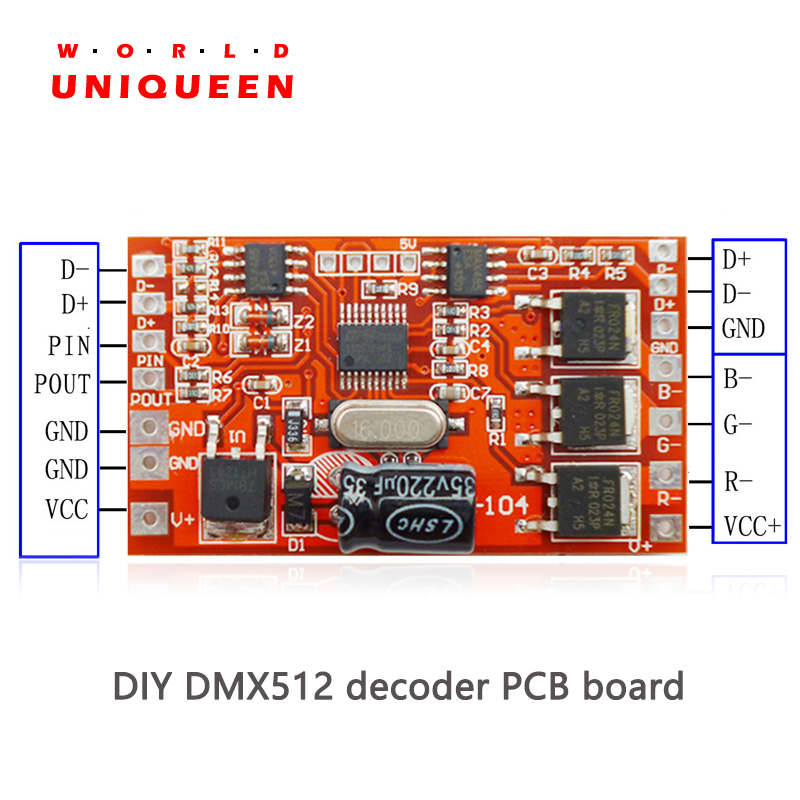 DC12V 24V Option DMX512 (1990) Standard Sample Decoder, 2A, 4A, Or With Digital Tube Display, Addressable DMX Decoder PCB Board