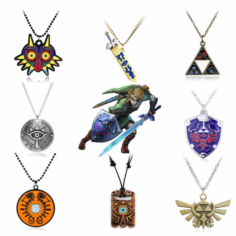 Gioielli Anime The Legend Of Zelda Collana Sheikah Ardesia Respiro della Natura Selvaggia, Hylian Shield,Triforce Pendenti Con Gemme E Perle Collane